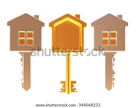 Set of three golden and silver house-shape keys isolated on white background - stock photo