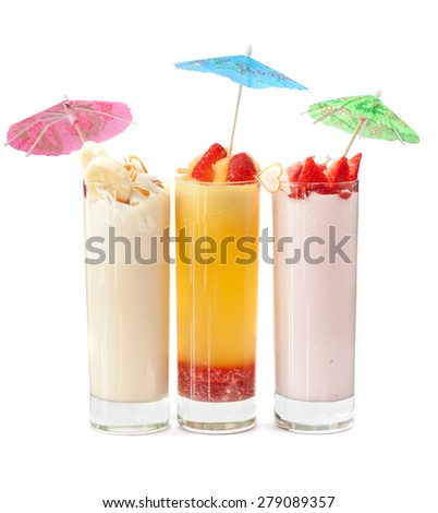 Set of three healthy nonalcoholic cocktails from berries banana and ice cream - stock photo