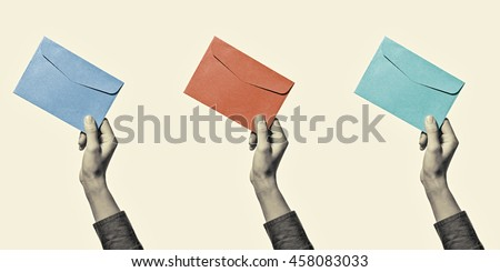 Set of three images of a hand with envelope, of different colors, isolated, toned, black and white - stock photo