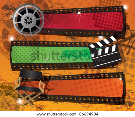 Set of three movie banners on grungy background with place for text, raster - stock photo