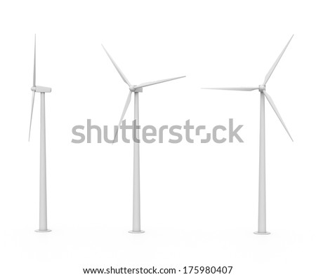 set of three various wind turbines isolated on white background - stock photo