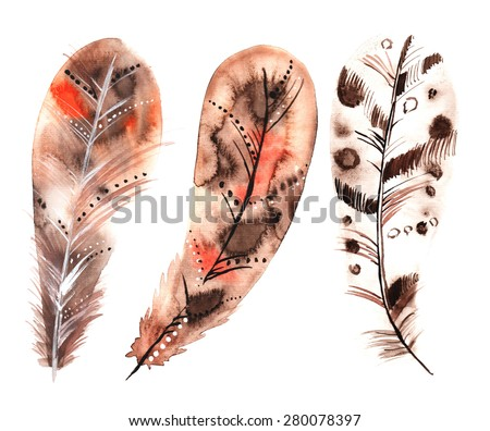Set of three watercolors beige feathers - stock photo