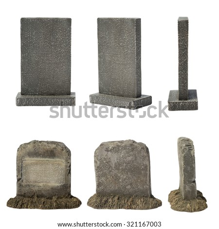 Set of tombstone isolated on white background - stock photo