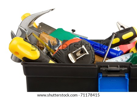 set of tools and instruments in black plastic box isolated on white background - stock photo