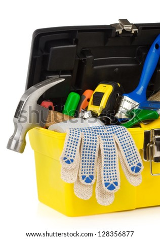 set of tools and instruments in toolbox isolated on white background - stock photo