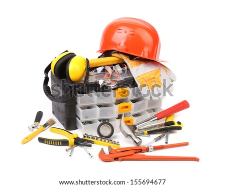Set of tools and instruments with toolbox. Isolated on white background. - stock photo