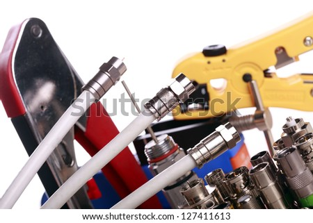 Set of Tools for antenna installation - stock photo