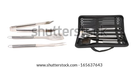 Set of tools for bbq in black bag. Isolated on a white background. - stock photo