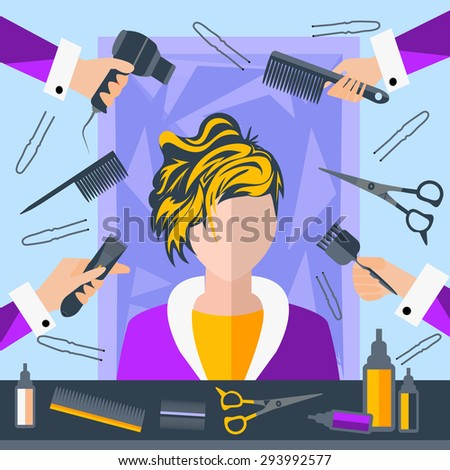 Set of tools for hairdressers in a flat style. Girl in a beauty salon. In the hands of stylists comb, hair brush. The modern concept of icons for your design.  Illustration - stock photo