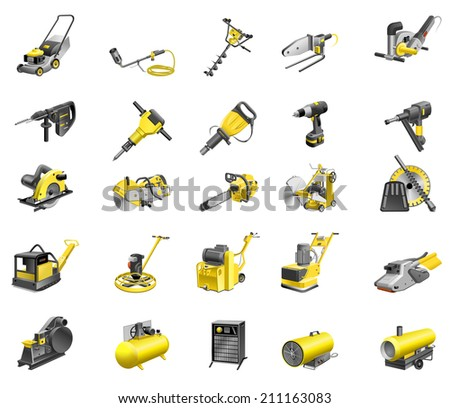 Set of tools-icons. - stock photo