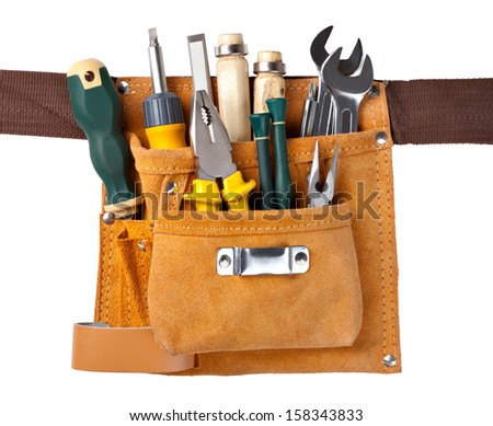 set of tools in tool box isolated at white background - stock photo