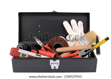 set of tools on toolbox isolated at white background - stock photo