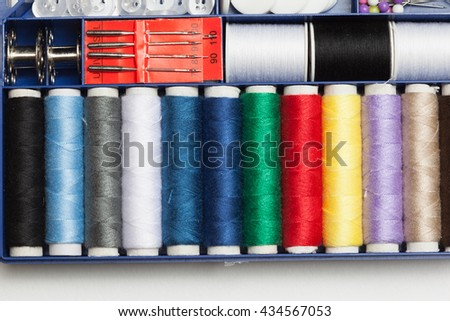 Set of tools with scissors, needle, thread spools for home made embroidery, needlework and tailoring, isolated on white background. - stock photo
