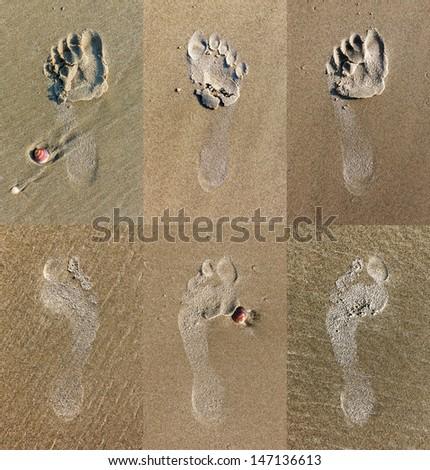 Set of 6 trace bare feet on the coast of the Mediterranean sea - Israel - stock photo