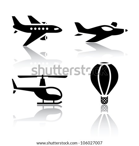 Set of transport icons - aircrafts. Eps version also available in my image gallery - stock photo
