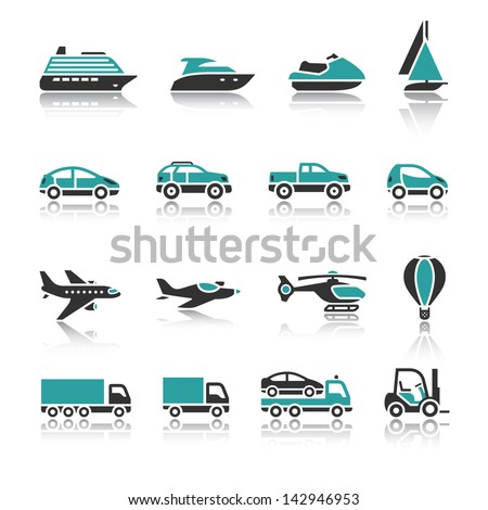 Set of transport icons - One. Rasterized versions (copy) - stock photo