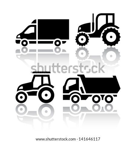 Set of transport icons - Tractor and Tipper (copy of the my vector) - stock photo
