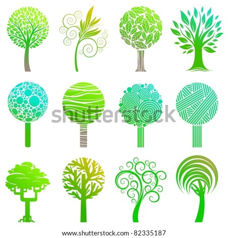 Set of trees emblem. (Vector version of this work is available in my portfolio: # 52742485) - stock photo