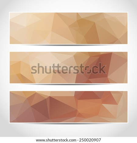 Set of trendy beige banners template or website headers with abstract geometric background. Design illustration - stock photo