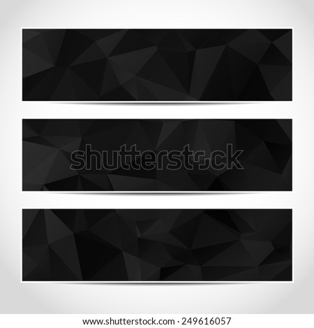 Set of trendy black banners template or website headers with abstract geometric background. Design illustration - stock photo