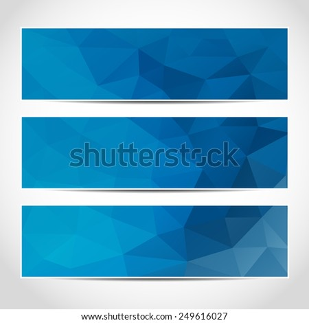 Set of trendy blue banners template or website headers with abstract geometric background. Design illustration - stock photo