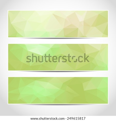 Set of trendy green eco banners template or website headers with abstract geometric background. Design illustration - stock photo