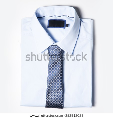Set of trendy Men clothing is on white background. Shirt and tie - stock photo