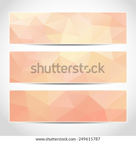 Set of trendy pink banners template or website headers with abstract geometric background. Design illustration - stock photo