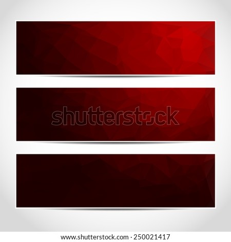 Set of trendy red banners template or website headers with abstract geometric background. Design illustration - stock photo