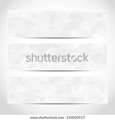 Set of trendy white banners template or website headers with abstract geometric background. Design illustration - stock photo