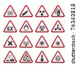 Set of Triangular Warning Hazard Signs. Bitmap copy of image ID 75219445 - stock photo