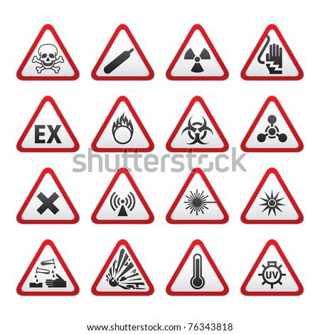 Set of Triangular Warning Hazard Signs. Bitmap copy of image ID 75219445 - stock photo