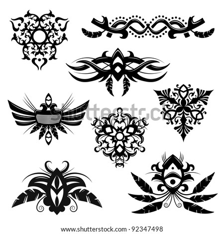 Set of 8 tribal polynesian designs and elements - stock photo