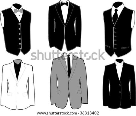 Set of tuxedos in black and white, easily editable. - stock photo