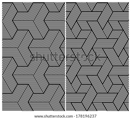 Set of Two B&W Seamless Patterns. Abstract Elements. Rasterized Version - stock photo