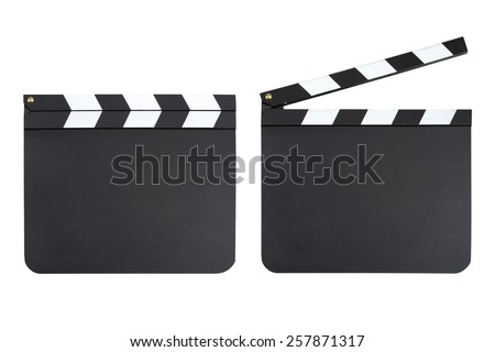 Set of two blank movie production clapper boards with copy space - stock photo