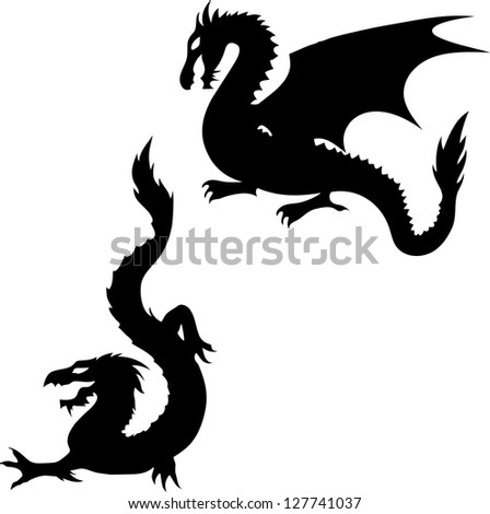 Set of two dragon silhouettes on white background. Raster version. - stock photo