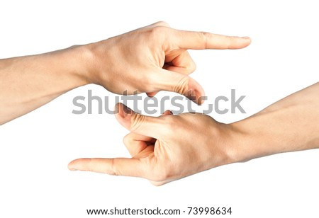 Set of two hands with pointing finger - stock photo