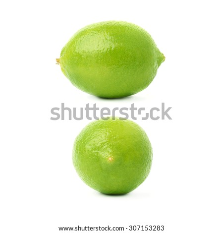 Set of two single ripe limes in different compositions and foreshortenings, isolated over the white background - stock photo