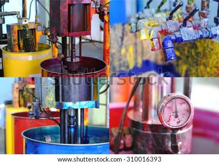 Set of typography equipment: jars, cranes, barometers. - stock photo