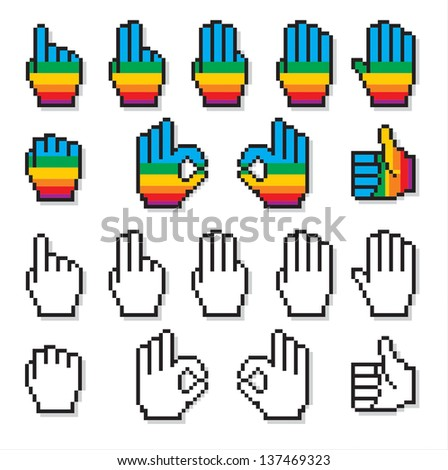 Set of uncommon cursor hands in rainbow colors and black and white. - stock photo