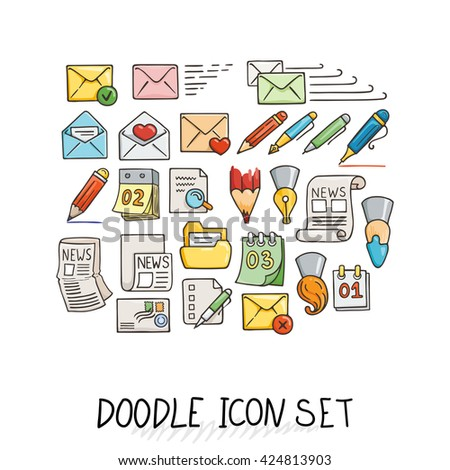 Set of Universal Doodle Icons. Bright Colors and Variety of Topics. Letters, Calendars, News, Mail, Stationery. - stock photo