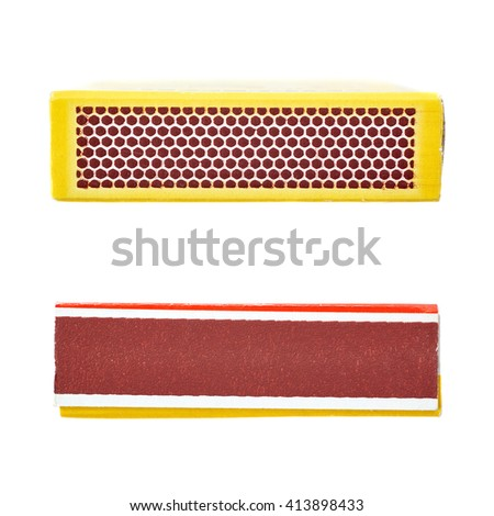 Set of Unused striking surface box side of matches isolated over the white background - stock photo