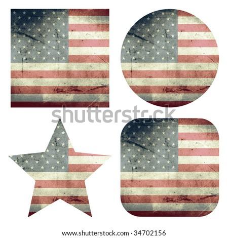 set of usa grunge flags - stock photo