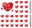 Set of Valentine hearts smileys, love signs, symbolizing various emotions - stock photo