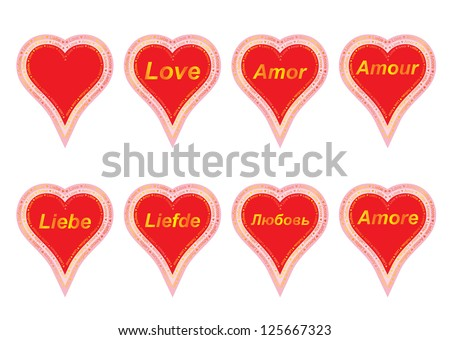 set of valentines with word love in several languages - stock photo