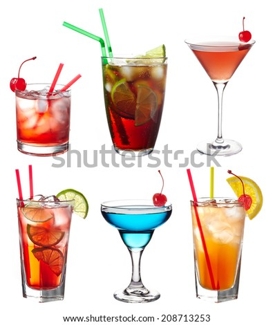 Set of various alcoholic cocktails isolated on white background - stock photo