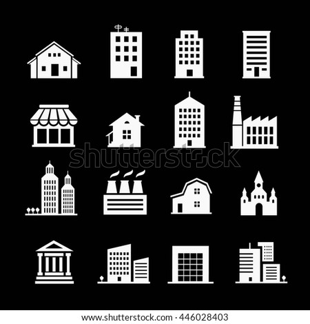 Set of various buildings. White on dark background - stock photo