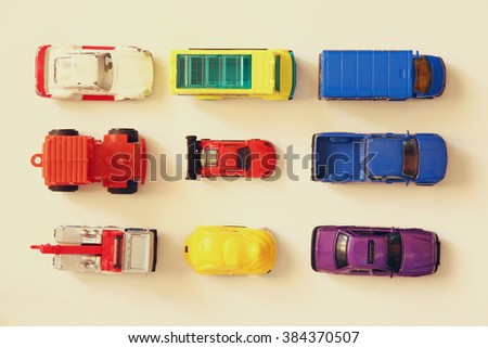Set of various cars toys, top view image  - stock photo