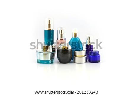 Set of various cosmetics isolated on white background - stock photo